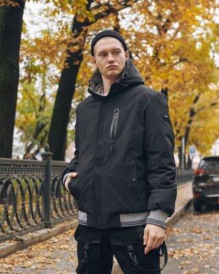 Зимняя мужская куртка Omar черно-серая двусторонняя