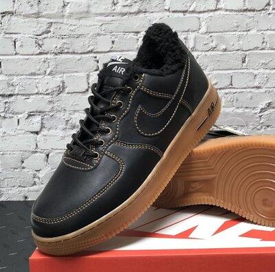 Зимние мужские кроссовки ботинки Nike Air Force Winter. Black Brown.