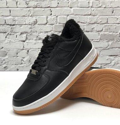 Зимние мужские кроссовки ботинки Nike Air Force Winter. Black White.