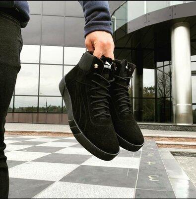 Кожаные мужские черные зимние ботинки Puma.