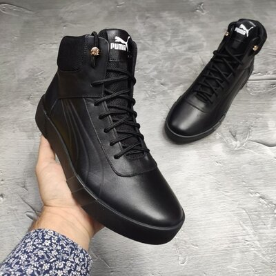 Кожаные зимние мужские ботинки кроссовки кроссы кеды на меху стильные высокие теплые новинка