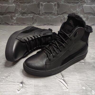 Мужские зимние ботинки натуральные кожаные стильные спортивные кроссовки кроссы кеды на меху