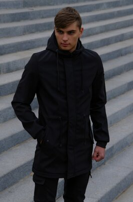 Куртка softshell v2.0 мужская черная демисезонная intruder ключница в подарок