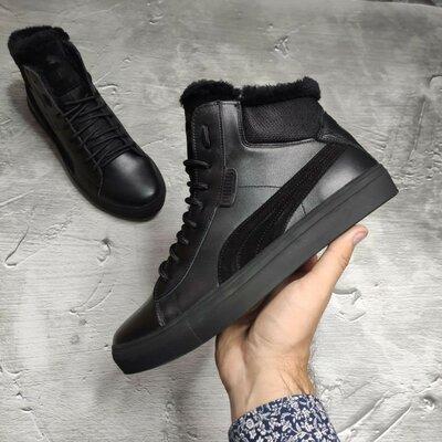 Стильные мужские натуральные зимние ботинки на меху кроссовки кеды кроссы на шнурках хит брендовые х
