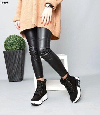 Женские натуральные кожаные замшевые ботинки на шнуровке на платформе танкетке