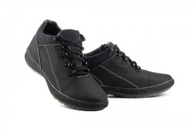 Зимние кожаные кроссовки CrosSAV 92, черные, кожа, мех