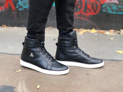 Кожанные зимние ботинки Philipp Plein