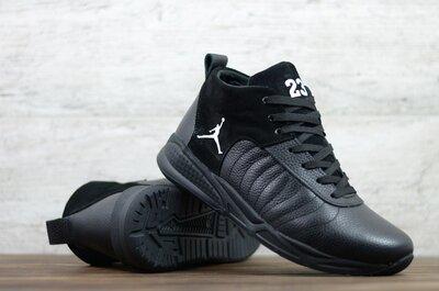 Мужские кожаные кроссовки зимние Черные Jordan Код Б-12