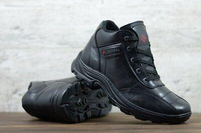 Мужские кожаные ботинки зимние Черные Columbia Код 01 бот