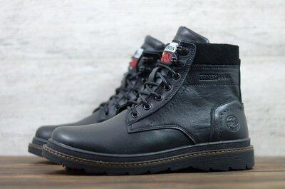Мужские кожаные ботинки высокие зимние Черные Nivas