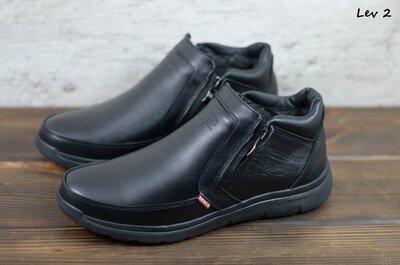 Мужские кожаные ботинки - мокасины зимние Черные Levis Код Lev 2