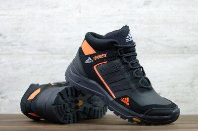 Мужские кожаные кроссовки зимние Черные с оранжевым Adidas Код А-1 оранж/зима
