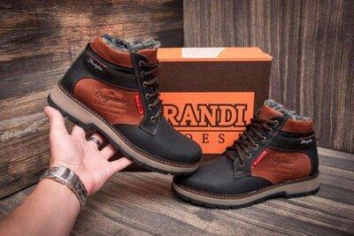 Мужские зимние кожаные ботинки wrangler arizona brown, зимние мужские ботинки