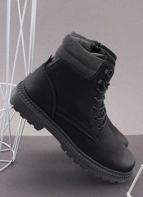 Мужские зимние серые ботинки
