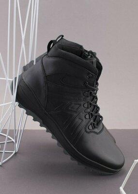 Мужские зимние черные ботинки Натуральная кожа