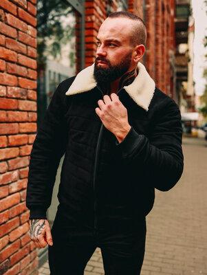 Стеганная замшевая куртка с мехом