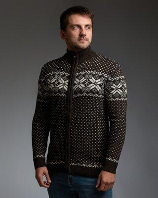 Продано: Коричневый мужской свитер на молнии с классическим орнаментом