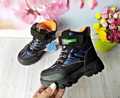 Продано: Зимние ботинки,термо р-р 30-19,5 см черные с синим фирма tom.m
