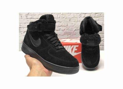Зимние мужские кроссовки ботинки Nike Air Force Winter. Black. Натуральная замша