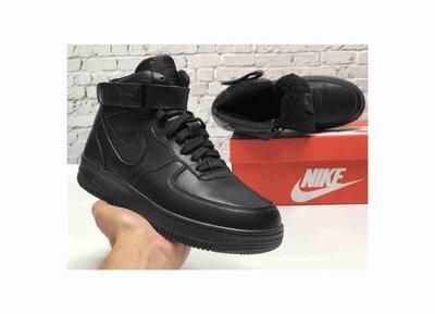 Зимние мужские кроссовки ботинки Nike Air Force Winter. Black. Кожа