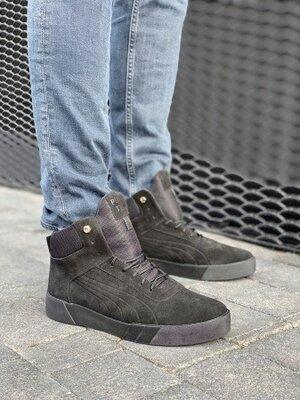 Зимние кроссовки мужские черные Nev-Men , замш, зима, мех