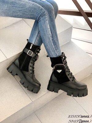 Женские натуральные кожаные замшевые ботинки на шнуровке на тракторной подошве