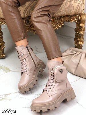 Женские натуральные кожаные зимние ботинки на шнуровке на ремешке с сумочкой на тракторной подошве