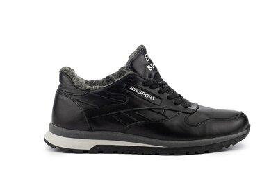 Зимние высокие кожаные теплые мужские кроссовки, черные, р. 40-45, 031-Lions R16