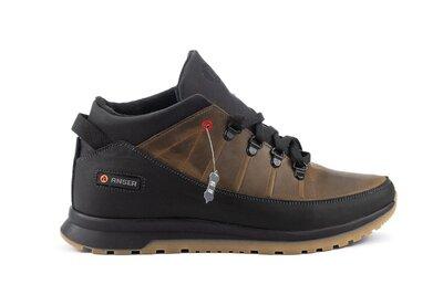 Зимние кожаные теплые мужские кроссовки, оливковые, р. 40-45, 031-Anser 101-1