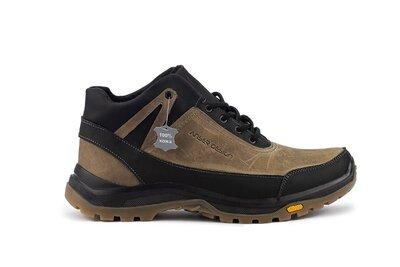Зимние кожаные теплые мужские кроссовки, черно-оливковые, р. 40-45, 031-Anser 124-1