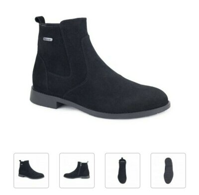 Ботинки зимние зима на меху мужские черные натуральная кожа кожаные замш замшевые высокие туфли
