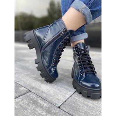 Продано: Зимние лаковые ботинки синего цвета