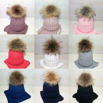 Продано: Зимняя шапка хомут с помпоном енота