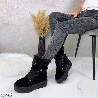 Продано: Женские натуральные кожаные замшевые зимние чёрные ботинки на шнуровке