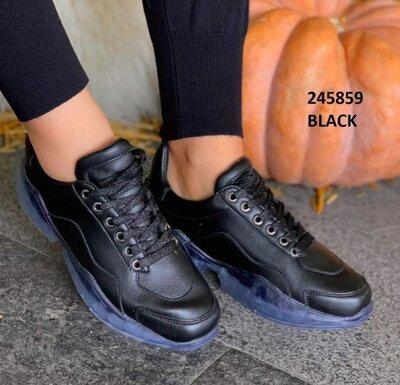 Супер Стиль Года Черные Кроссовки Для Модницы Можно На Сырую Погоду 2 Цвета На Выбор