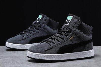 Зимние ботинки мужские Puma Suede, серые, зима, мех