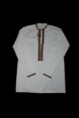 Мужская вышиванка 100% лен рубашка винтажная супер 2XL 3XL