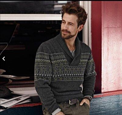 Шикарный теплый свитер с жаккардовым узором шерсть tсм tchibo. m