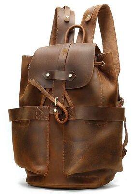 Винтажный кожаный рюкзак коричневый стильный шнурок стяжка клапан crazy horse