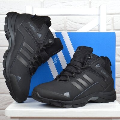 Ботинки мужские зимние кожаные Adidas ClimaProof Адидас Клима Пруф черные на меху