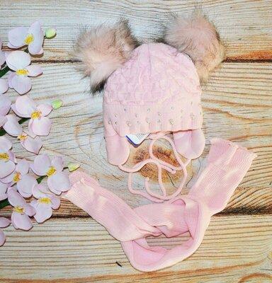 Акция Зимняя шапка и шарф на девочку 1-2 года
