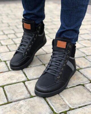 Мужские Ботинки Серая Полоса Зима