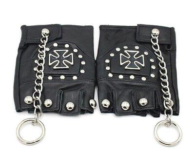 Продано: Перчатки беспалые с крестом и цепью для байкеров и панк-рокеров 01028