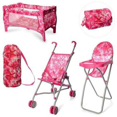 Продано: Набор игровой 9001, детский, для кукол, стульчик для кормления, коляска, манеж, сумка, чехол