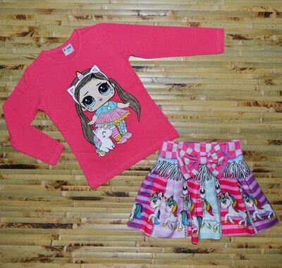 Акция Распродажа Качественный костюм на девочку Лол с единорогом, юбка и реглан Турция
