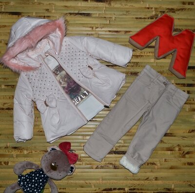 Акция Шикарный зимний костюм на девочку 3-ка, зимняя куртка, зимние штаны, супер качество Турция