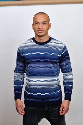 Мужской свитер Лабиринт в цвете т.синий-молоко 50-54