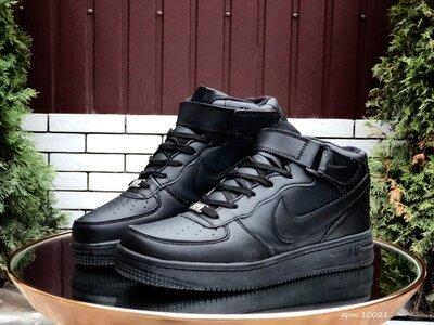 Зимние кроссовки мужские Nike Air Force 1 черные, зима, мех