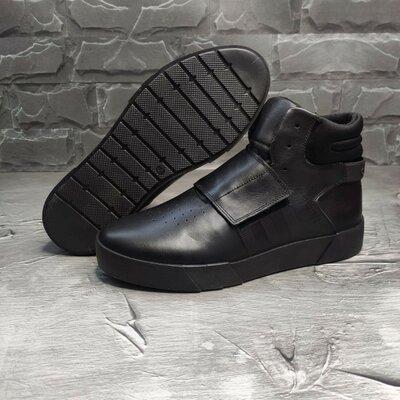 Стильные хайповве кожаные мужские крутые классные кожаные ботинки кроссовки высокие кроссы кеды