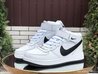 Nike Air Force кроссовки зимние мужские белые с черным 10019